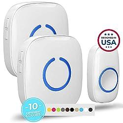 Wireless Doorbell by SadoTech – Waterproof Door Bells & Chimes Wireless Kit – Over 1000-Foot Range, 52 Door Bell Chime, 4 Volume Levels with LED Flash – Wireless Doorbells for Home – Model CXR (White)