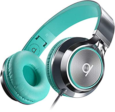 Artix CL750 Foldable Noise Isolating On Ear Headphones Wired with Microphone and Volume Control, Stereo Head Phones Corded with Adjustable Headband for Computer, Laptop and Cell Phone (Turquoise) by ARTIX