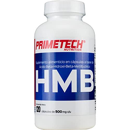 HMB Ácido Beta-Hidroxi Beta-Metilbutírico Primetech 120 cápsulas de 500 mg c/u