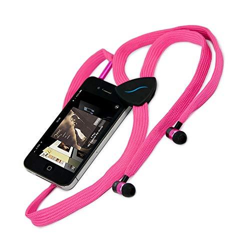 hi-Fun Hi-String, Auricolari Antigroviglio con Cavo a Forma di Stringa Interamente in Tessuto e Microfono, Colore Rosa