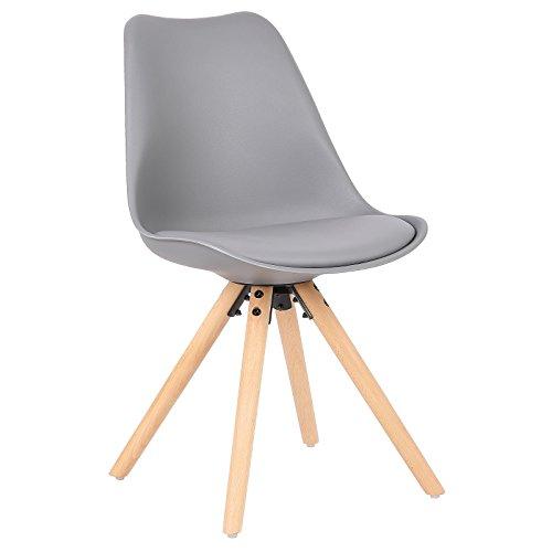 WOLTU® BH52gr-1 1 Stück Esszimmerstuhl, mit Sitzfläche aus Kunstleder, Design Stuhl, Küchenstuhl, Holz, Grau