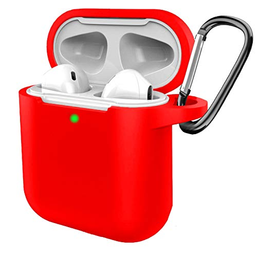 Silikon-Schutzhülle für AirPods 2 & 1, [Front-LED sichtbar] mit Anti-Verlust-Karabiner, kompatibel für Airpods Earbuds Wireless Charging Case für Apple AirPods 2 & 1 (rot)