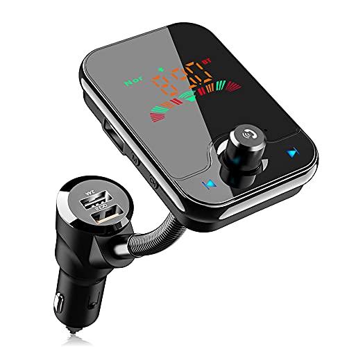 FM Transmitter Auto Bluetooth 5.0,KFZ Wireless Radio Audio 1,6 Farbbildschirm Musik Stereo Adapter Dual USB Ladegerät QC 3.0 Radioempfänger mit Freisprecheinrichtung Unterstützt TF Karte,USB-Stick,AUX