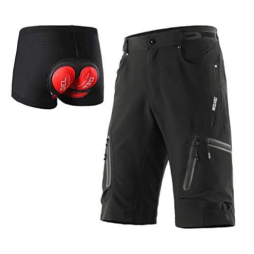 ARSUXEO - Pantaloncini da ciclismo da uomo, vestibilità larga, pantaloncini da mountain bike, impermeabili, pantaloncini per sport outdoor, 1202, Uomo, Nero con cuscinetto, L