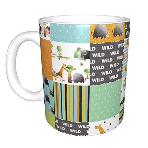 Taza de cerámica con retales de animales salvajes africanos de la selva, taza de café, taza de té, taza de cerveza para oficina y capacidad para el hogar