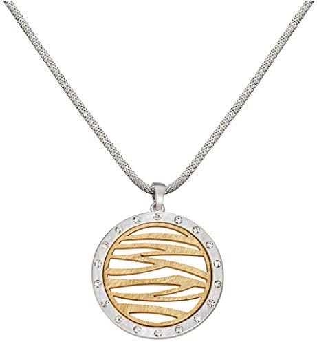 Perlkönig Kette Halskette | Damen Frauen | Silber Gold Farben | Kreis förmige Münze | Glitzer Steine | Nickelabgabefrei