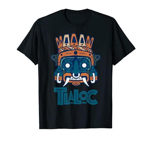Calandero de traje azteca Tlaloc Art Maya Inca Cultura para hombres Camiseta