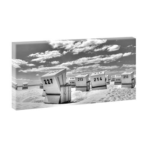 Querfarben Bild auf Leinwand mit Landschaftsmotiv Strandkörbe in SPO | 160 x 80 cm, SW, Wandbild, Leinwandbild mit Kunstdruck, Nordseebild mit Strandmotiv auf Holzrahmen gespannt, 80x160 cm