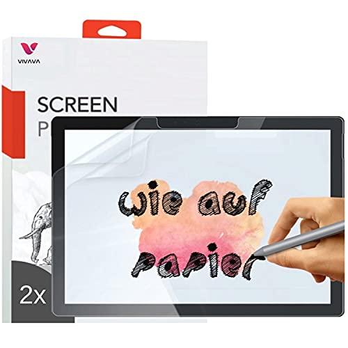 VIVAVA (2 Stück) matte Paper-like Folie für Surface Pro 7 Plus/Surface Pro 7 / Pro 6 / Pro 5 / Pro 4 Bildschirmfolie Schutzfolie, 12,3 Zoll, zum Schreiben, Zeichnen & Skizzieren wie auf Papier