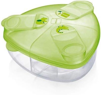 Intrucciones en lengua extranjera - MAM Milk Box - Contenedor de leche en polvo, con compartimentos de 40 g cada uno, marfil y transparente, verde