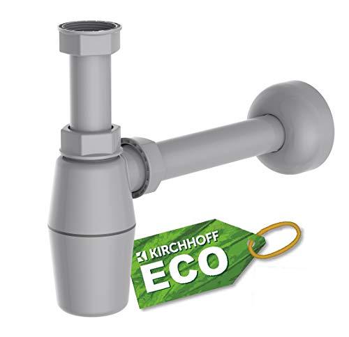 KIRCHHOFF Siphon ECO Save, nachhaltiger Abfluss, Geruchsverschluss aus recyceltem Kunststoff, Ablaufgarnitur für Waschbecken und Waschtisch, Flaschensiphon, Tassensiphon, Abflussrohr 98803049, Grau