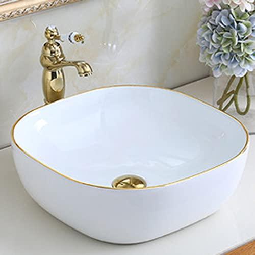 Oro Moderno De La Lavabo Encimera Bano, Lavamanos De Estilo Europeo 42x14cm, Mueble De Bano para El Baño del Baño del Hotel Club Cafe(Size:Juego Completo)