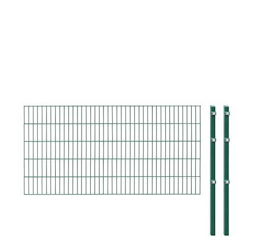 Einstabmattenzaun/Stabmattenzaun, H 100 cm, grün, 10-50m - inklusive Pfosten - Komplett Set (20 m)