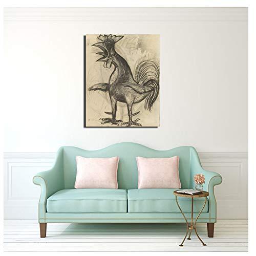 nr Pablo Picasso Der Hahn Leinwand Malerei Druck Wohnzimmer Wohnkultur Moderne Wandkunst Ölgemälde Poster Bilder 50x60cm Rahmenlos