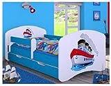 Cuna con colchón y canapé para niños de naka24 azul barco Talla:160x80 cm