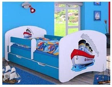 naka24 Kinderbett mit Matratze und Bettkasten für Jungen (160x80 cm, Schiff)
