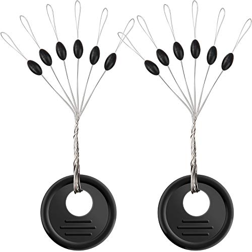 600 Pk Fishing Rubber Bobber Peg Sinker Stopper Black Oval Bead Eagle Claw Texas Rig Weight Floats Stops Durability Flipping Terminal Tackle Accessories for Saltwater Freshwater