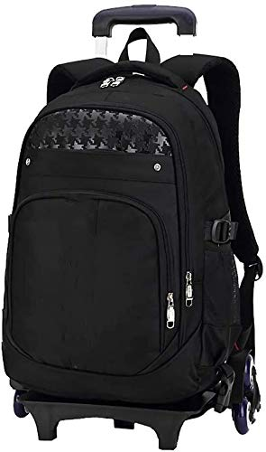 Fashion backpack Fashion backpack backpack and wheels and large-capacity backpack bags on wheels to roll the bag children schoolbags three children (school backpack (color: black, size: free size) Sui