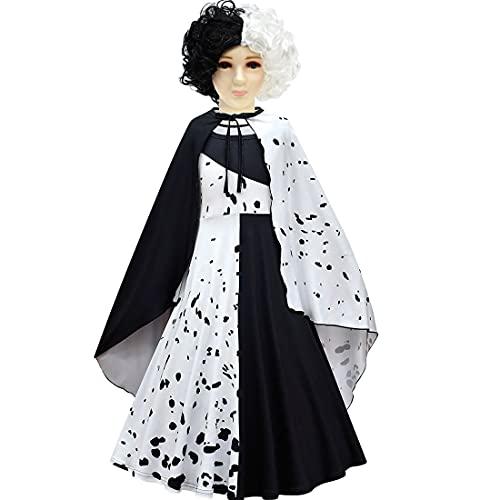 Suyaluoi Disfraz de película Cruella de Vil para Halloween, cosplay, disfraz de Estella para niños, ropa y peluca (abrigo, 9-10 años)