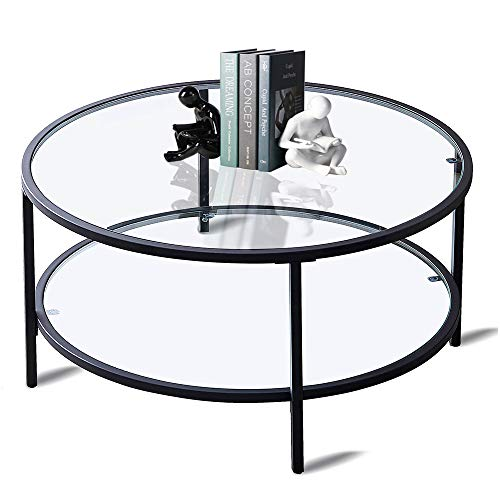 Round Glass Coffee Table for Living Room, Modern Coffee Table Decor with 2 Tier Tempered Glass Boards & Metal Frame, Black Coffee Table with Storage for Dining Room, Tea, Home Décor