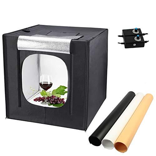 Yorbay Fotostudio Set 60 x 60 x 60cm LED-Fotobox Lichtbox Lichtwürfel Profi Fotografie Lichtzelt inkl. 3 PVC-Hintergrundfolien (schwarz, rein weiß, warm-weiß) Mehrweg