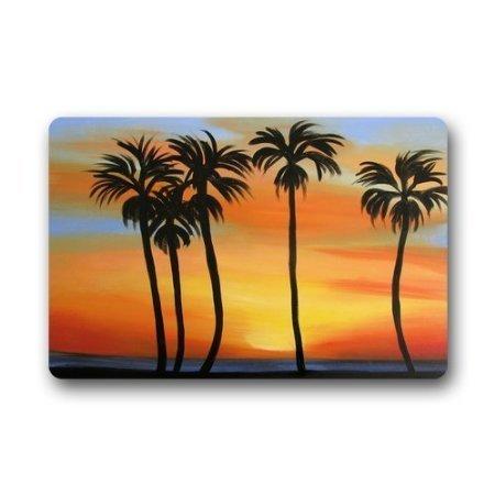 Jesspad vintage Tropical Hawaii Palm Tree Paillasson en velours Corail Tapis de sol