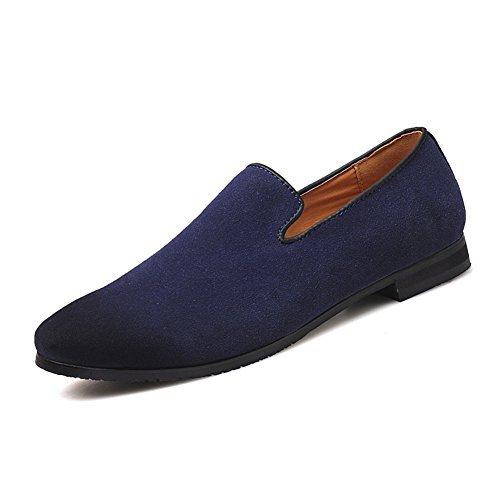 MoreDays Loafers Velvet Dress Shoes for Men Slip On Suede Driving Shoe Blue 46