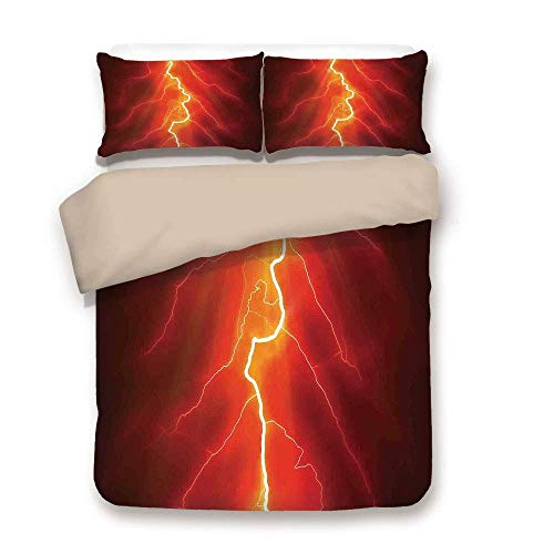 ZOMOY Duvet Cover Set,Nature,Lightning Bolt Forked Against Dark Sky Thunderstorm Intense Electrical Rays Theme,Yellow Red,Decorative 3 Pcs Bedding Set 2 Pillow Shams