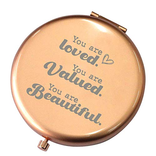 You are Loved Valued Beautiful--Inspirational Gifts for Women,Teen Girls,Her, for Women,Birthday Graduation Friendship Ideas Gifts for Women-Travel Rose Gold Mirror