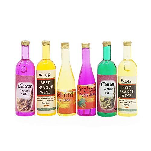 Odoria 1:12 Miniatura 6PCS Coloridos Botellas de Vino Casa de Muñecas Accesorios de Cocina