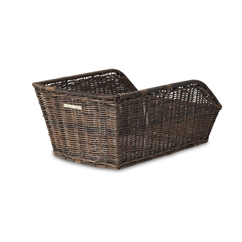 Basil Unisex– Erwachsene Hinterradkorb Cento-Rattan Look Fahrradkorb, Brown, 47 cm x 34 cm x 22 cm