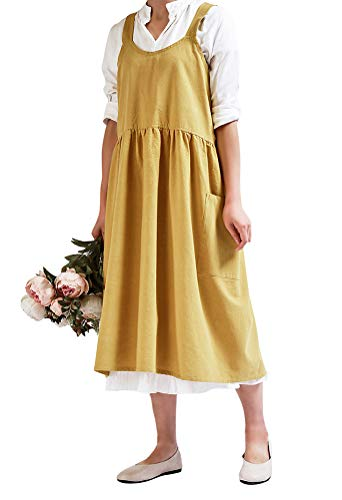 Nanxson Delantal de Lino de algodón para Mujer con 2 Bolsillos para cocinar, Hornear, Hacer Manualidades, jardinería, arreglos Florales CF3088 (Amarillo)