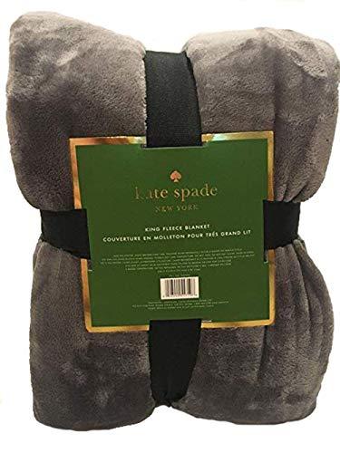 Kate Spade New York King Sized Fleece Blanket - Grey