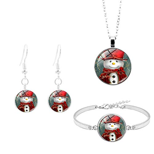 Happyyami Christmas Jewelry Set Cartoon Snowman Pattern Time Gemstone Charms Necklace Earrings Bracelet Kit Holiday Costume Jewelry for Women Ladies
