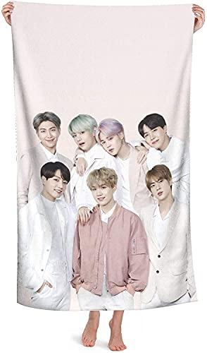 BTS Kpop South Corean Bangtan Boys Toalla de playa, Jimin Suga Jin Taehyung V Jungkook, toalla de playa, Map of The Soul, toallas de ducha (BTS3, 140 x 70 cm)