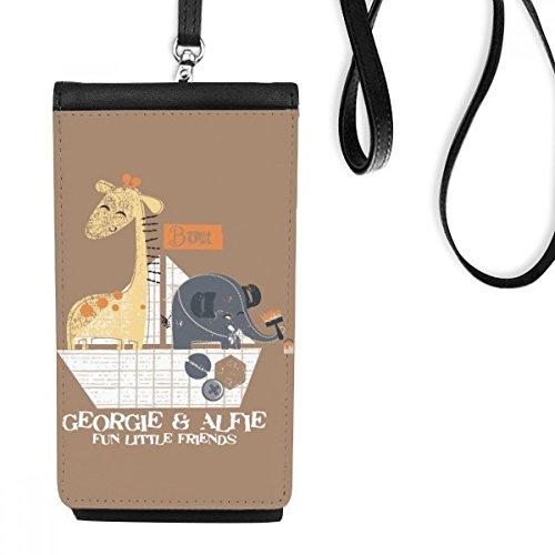 DIYthinker Giraffe Olifant Cartoon Dier Bruin Faux Lederen Smartphone Hangende Handtas Zwart Telefoon Portemonnee Gift