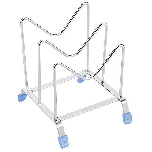 Lid Organizer, Multifunction 2‑Grid Mental Dish Plate Organizer Rack Bakeware Organizer for Serving Trays Lid Kitchen Tool