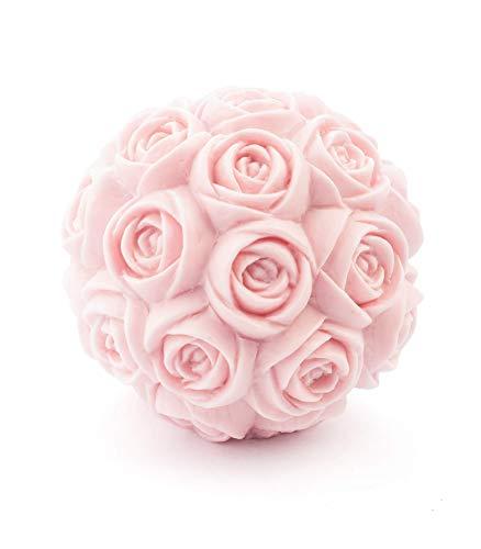 MANULENA Figura Decorativa Y Aromática con Forma De Rosa. Aroma Peony Rose. Color Rosa. Figura De Diseño Moderno y Minimalista. Tamaño 9 x 9 x 9 cm.