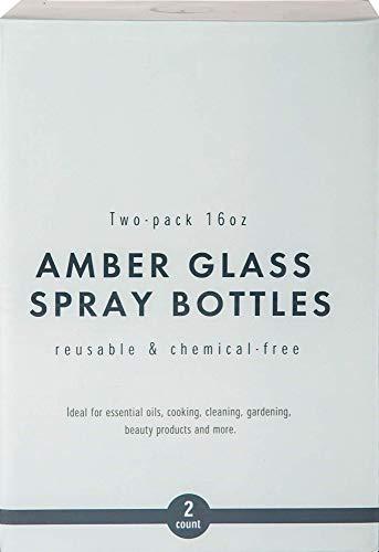 Essential Living: Braunglas-Sprühflaschen mit Sprühköpfen – 2 Stück (473 ml) – für Haushaltsreinigungslösungen, ätherische Öle, Reibalkohol und mehr – wiederverwendbar – 3 Einstellungen – kein BPA oder Blei