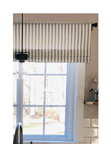 Faux Roman Shade Valance Custom Made in Black & White Ticking Stripe Fabric. Fully Lined, 100% Cotton, Ready to Hang