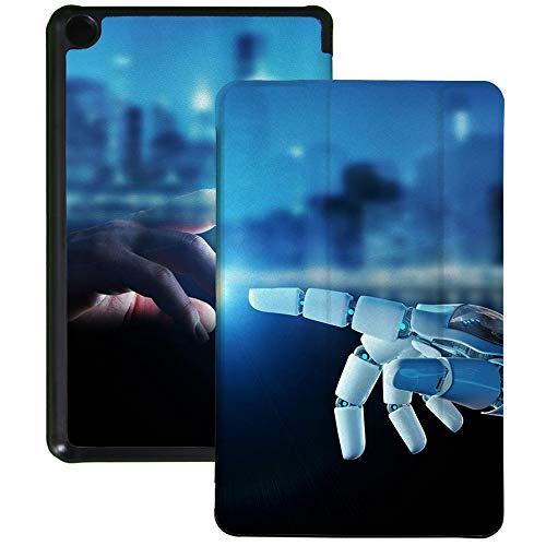 QIYI Funda para Kindle Fire 7 Tablet 9ª Generación Niños Impermeable Cubierta Delgada Ligero Plegable Soporte Múltiples Ángulo de Visión Funda Inteligente con Auto Wake/Sleep - Touch Robot Mano