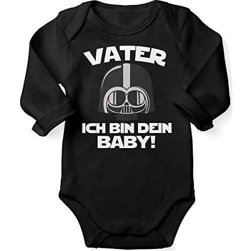 Mikalino Babybody mit Spruch für Jungen Mädchen Unisex Langarm Vater - ich Bin Dein Baby! | handbedruckt in Deutschland | Handmade with Love, Farbe:schwarz, Grösse:62