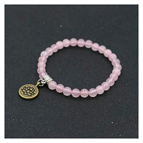 HAOKTSB Pulsera de Piedra Mujer, 7 Chakra Piedra Natural Beads Rose Cuarzo Brazalete Elástico Dorado Lotus Colgante Joyería Yoga Energía Encanto Difusor Mujer Pulsera Pulsera de Piedra