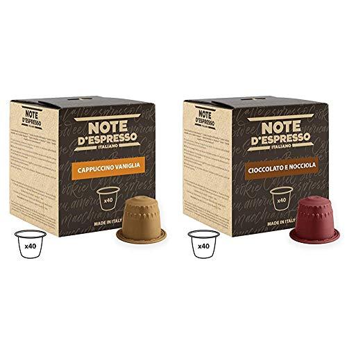 Note D'Espresso - Cápsulas de capuchino de vainilla instantáneo, 6,5g (caja de 40 unidades) Exclusivamente Compatible con cafeteras Nespresso + Cápsulas de Chocolate con Avellana - 40 x 7 g