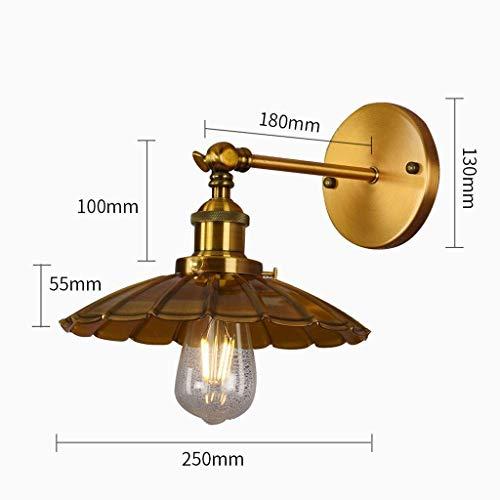 Wandlantaarn, wandlamp van kristalglas, wandlamp, spiegel voor, wandlampen vintage, industrie/lampenkap, wandlamp, retro, goudkleurig, van metaal, E27, perfect voor 1 exemplaar