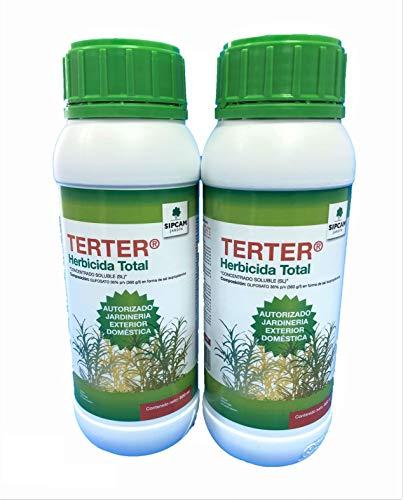 Todo Cultivo Herbicida Total glifosato 36% TERTER 1 Litro. (2x500 ml. Tratamiento válido para 60 litros de Agua). Herbicida liquido Concentrado sin Efecto Residual.