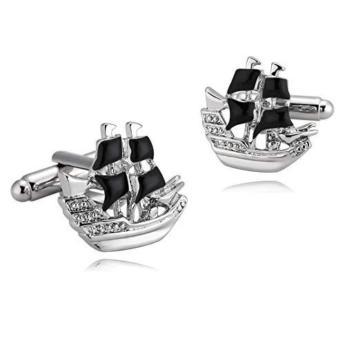 Ubestlove Geburtstagsgeschenk Herren Lustig Yacht Manschettenknöpfe Taufgeschenke Für Jungen Silber Schwarz Gravur