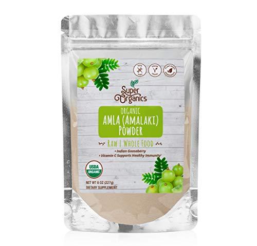 Super Organics Amla (Amalaki) Powder | Organic Superfood Powder | Raw Superfoods | Whole Food Supplement | Good Vitamin C Content – Vegan, Non-GMO & Gluten-Free, 8 oz