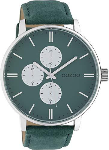 Oozoo Herrenuhr mit Lederband 50 MM Silberfarben/Grün C10313