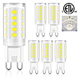 G9 LED Light Bulb Bi Pin Base,Winshine 6000K Daylight G9 Base Bulbs for Chandeliers,4W (40W Halogen Equivalent),360° Beam Angle,400LM,Non-dimmable for Home Lighting,6 Pack